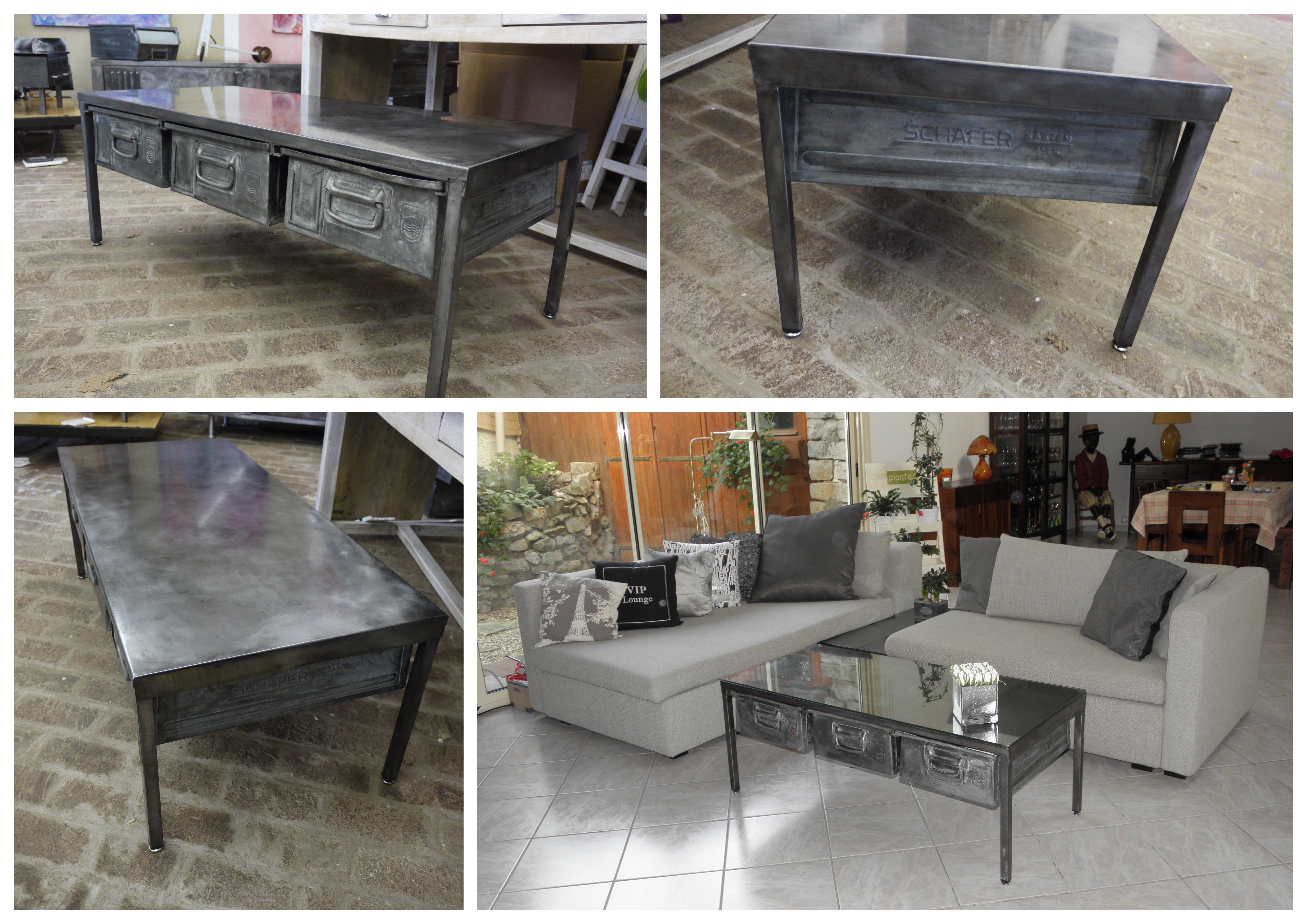 pin cr ation table m tallique industrielle sur mesure. Black Bedroom Furniture Sets. Home Design Ideas