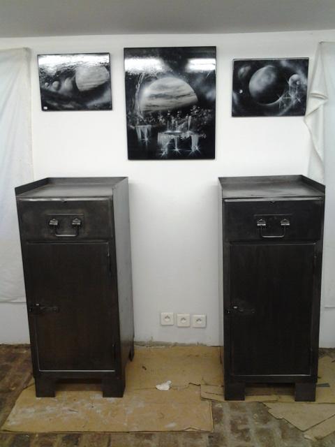 Meuble d 39 atelier ancienne servante avec un tiroir et 1 for Atelier du meuble